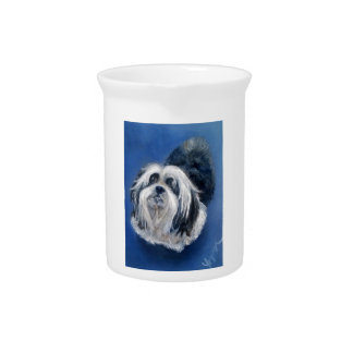 Black and White Playful Small Dog Pitcher