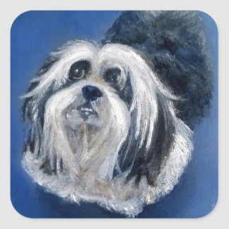 Black and White Playful Small Dog Square Sticker