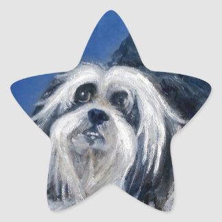 Black and White Playful Small Dog Star Sticker
