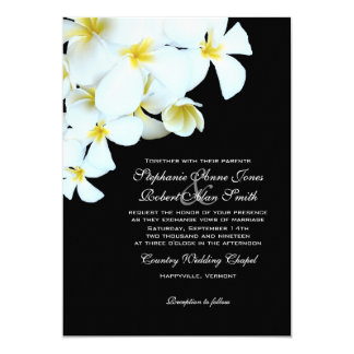 Black and White Plumeria Beach Wedding Invitations