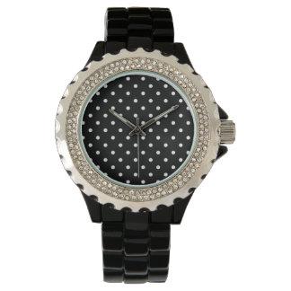 Black and white poke dots wrist watch