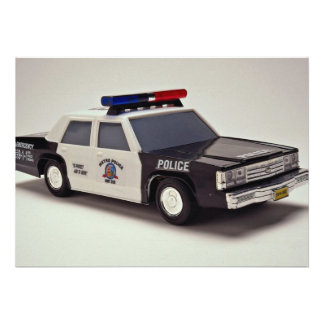 Black and white police car custom announcement