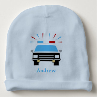 Black and White Police Car | Personalized Baby Beanie