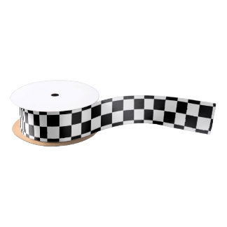Black and White Police Checkerboard Crime Scene Satin Ribbon