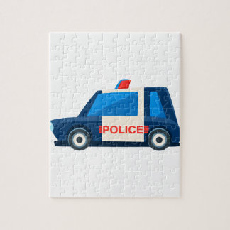 Black And White Police Toy Cute Car Icon Jigsaw Puzzle