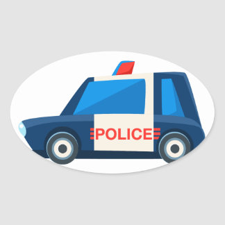 Black And White Police Toy Cute Car Icon Oval Sticker