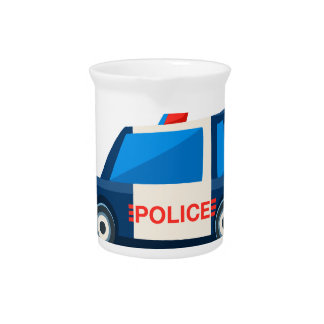 Black And White Police Toy Cute Car Icon Pitcher