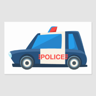 Black And White Police Toy Cute Car Icon Rectangular Sticker