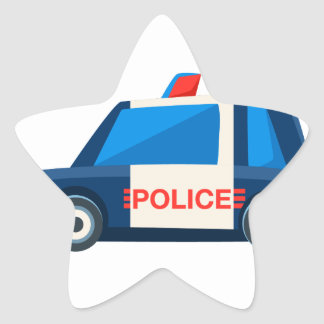 Black And White Police Toy Cute Car Icon Star Sticker