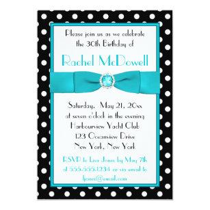 Black and white 30th birthday invitations zazzle black and white polka dot 30th birthday invitation filmwisefo