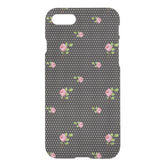 Black and white polka dot and pink roses iPhone 7 case