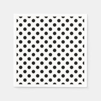 Black and White Polka Dot Cocktail Napkins Disposable Serviettes