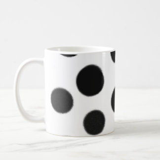 black and white polka dot coffee mug