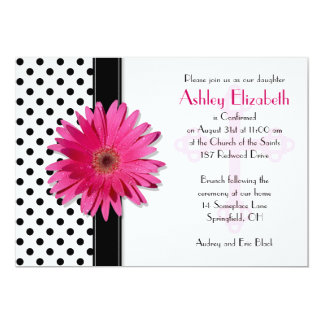 Black and White Polka Dot Confirmation Invitation