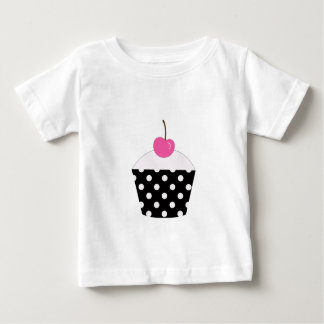 Black and White Polka Dot Cupcake With Pink Cherry Baby T-Shirt