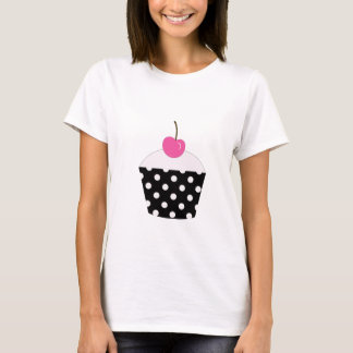Black and White Polka Dot Cupcake With Pink Cherry T-Shirt
