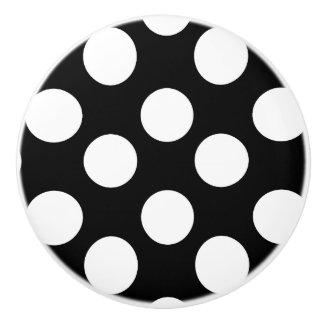 Black and White Polka Dot Furniture Knob