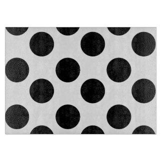 Black and White Polka Dot Glass Cutting Board
