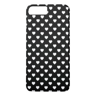 Black And White Polka Dot Hearts Pattern iPhone 8 Plus/7 Plus Case