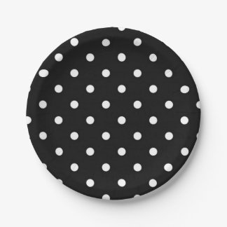 Black and white polka dot modern glamour 7 inch paper plate