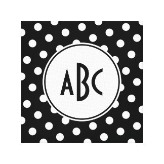 Black and White Polka Dot Monogram Canvas Print