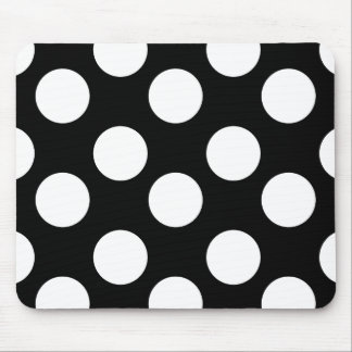 Black and White Polka Dot Mouse Pad