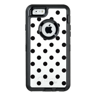 Black And White Polka Dot OtterBox Defender iPhone Case