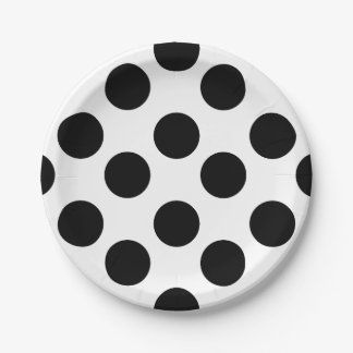 Black and White Polka Dot Paper Plates 7 Inch Paper Plate
