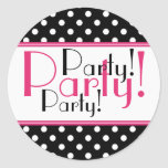 Black and White Polka Dot Party Sticker