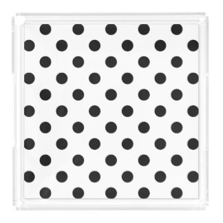 Black and White Polka Dot Pattern Acrylic Tray