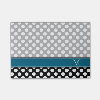 Black and White Polka Dot Pattern Blue Monogram Post-it Notes