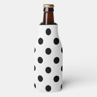 Black and White Polka Dot Pattern Bottle Cooler