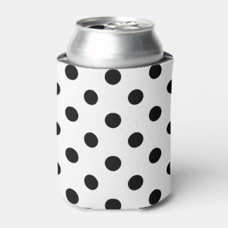 Black and White Polka Dot Pattern Can Cooler