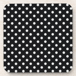 Black and White Polka Dot Pattern Drink Coasters