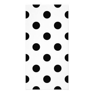 Black and White Polka Dot Pattern Custom Photo Card