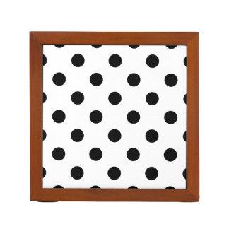 Black and White Polka Dot Pattern Desk Organiser
