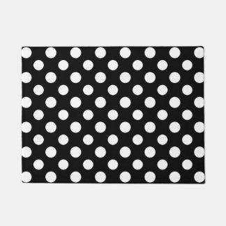 Black and White Polka Dot Pattern Door Mat