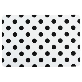 Black and White Polka Dot Pattern Floor Mat