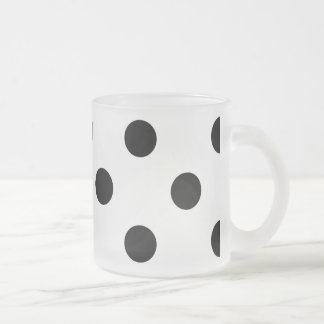 Black and White Polka Dot Pattern Frosted Glass Coffee Mug