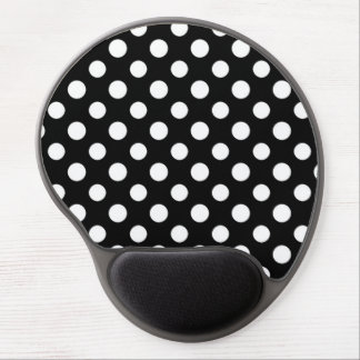 Black and White Polka Dot Pattern Gel Mouse Pad