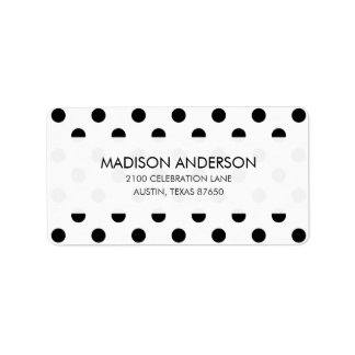 Black and White Polka Dot Pattern Label