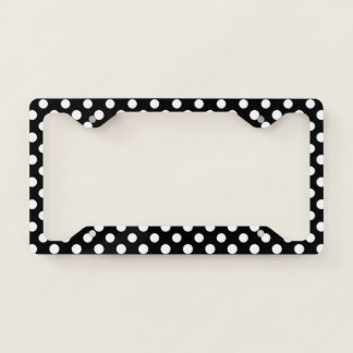 Black and White Polka Dot Pattern Licence Plate Frame