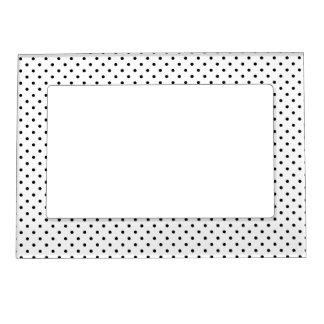 Black and White Polka Dot Pattern Magnetic Frame