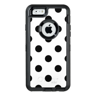 Black and White Polka Dot Pattern OtterBox Defender iPhone Case