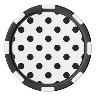 Black and White Polka Dot Pattern Poker Chips