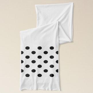 Black and White Polka Dot Pattern Scarf