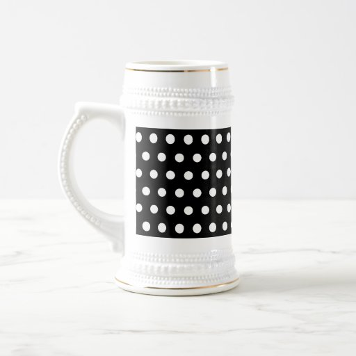 Black and White Polka Dot Pattern. Spotty. Beer Steins