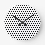 Black and White Polka Dot Pattern. Spotty. Clock