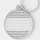 Black and White Polka Dot Pattern. Spotty. Keychain