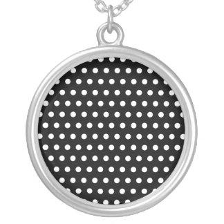 Black and White Polka Dot Pattern. Spotty. Necklace